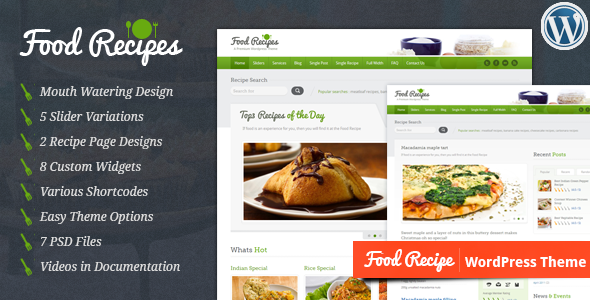 Food Recipes WordPress Theme
