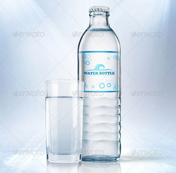 Glass Bottle for Water Mockup