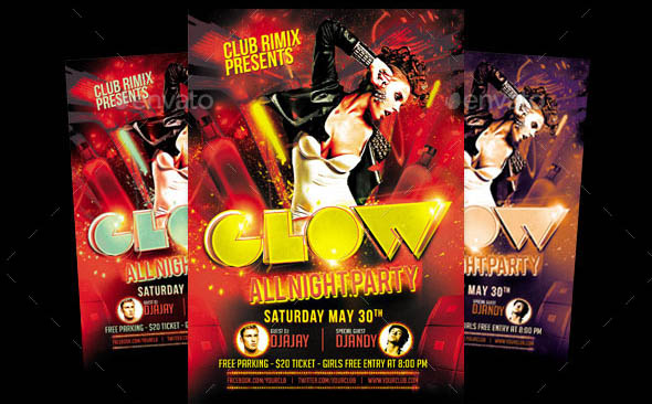 Glow Party Flyer Template 01