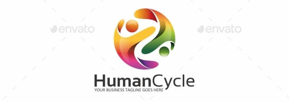 Human Cycle People Logo Template