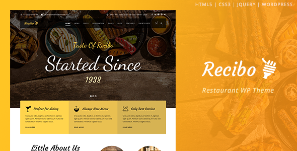 Recibo Restaurant Food Cook WordPress Theme
