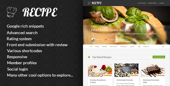 Recipe WP Theme For Recipes
