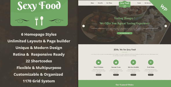 Sexy Food - Food Restaurant WordPress Theme