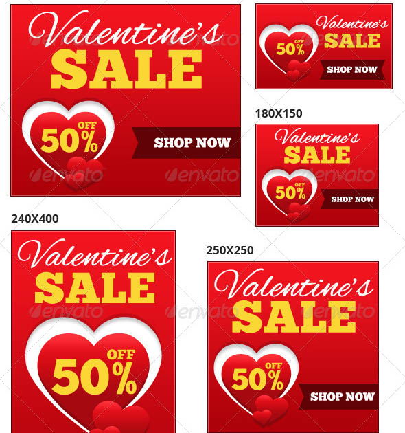 Valentines Sale Web Ad Banners