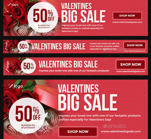 Valentines Sales Ad Banners