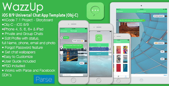 WazzUp iOS Universal Private Chat App Template