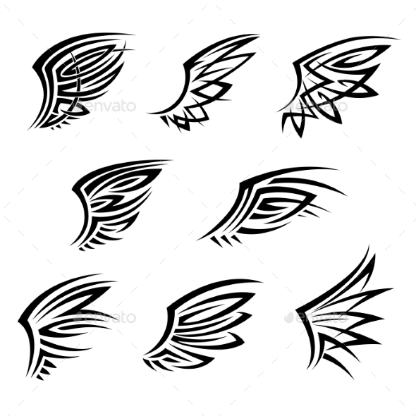 Black Tribal Tattoo Wings With Decorative Feathers