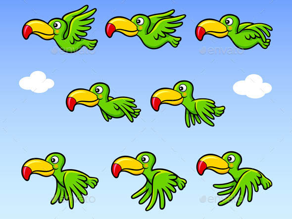 Flying Happy Bird Sprite Game Asset