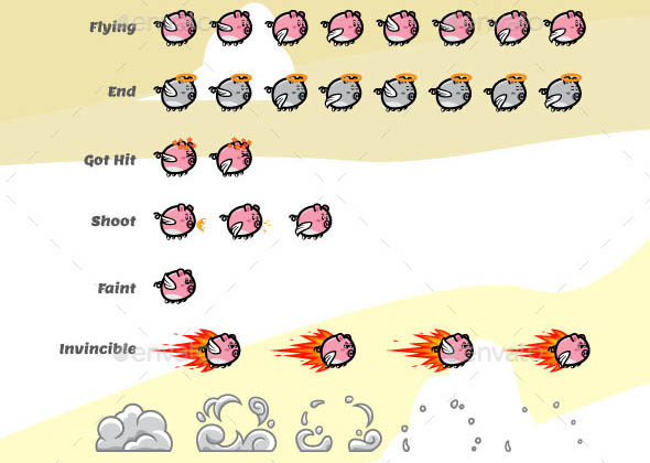 Game Character Flying Pig Sprite Sheets