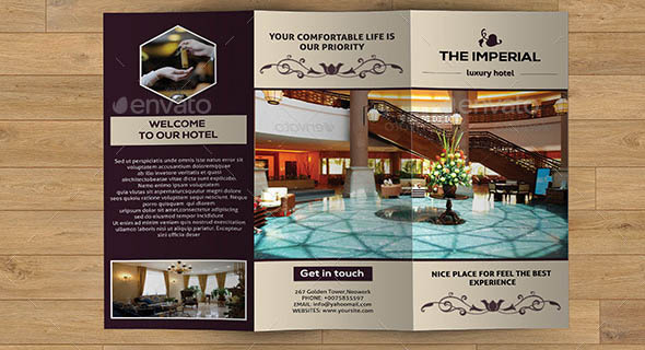 hotel business trifold v216 - Hotel Brochure Design Templates