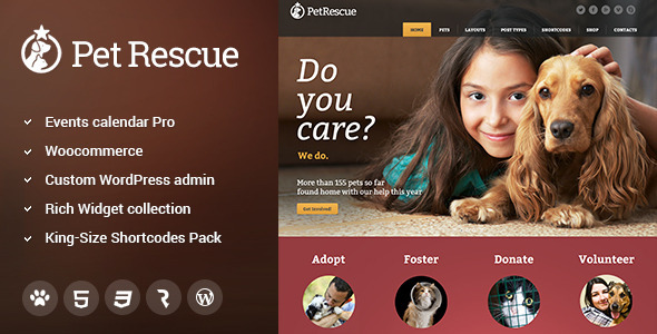 Pet Rescue Animals Shelter Charity WP Theme