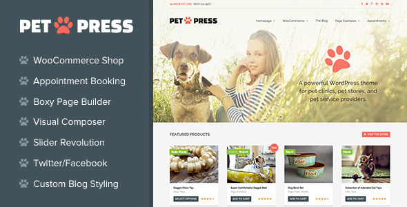 PetPress A Pet Shop Services Theme for WordPress