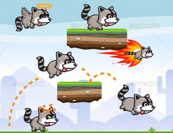Raccoon Game Character Sprite Sheet
