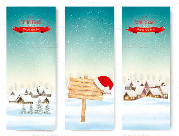 Holiday Christmas Banners with Villages and Wooden Sign
