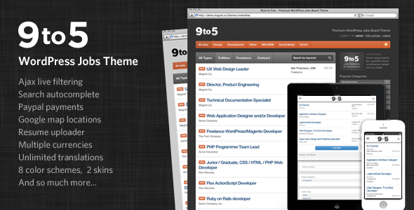 Nine to Five Premium WordPress Jobs Theme