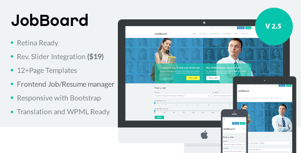Responsive Job Resume Market WordPress Theme