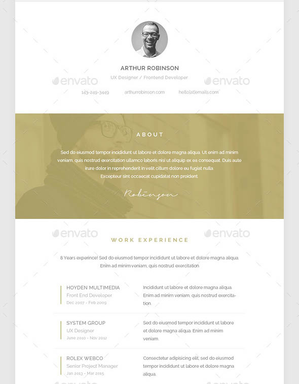Resume PSD Email Template