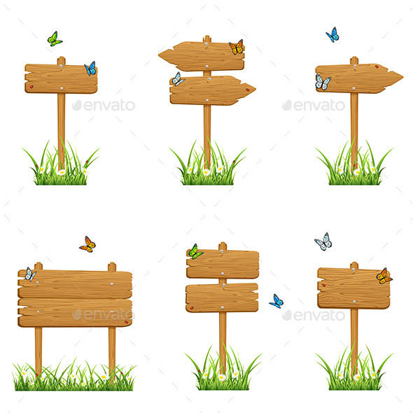Set of Wooden Signs in Grass
