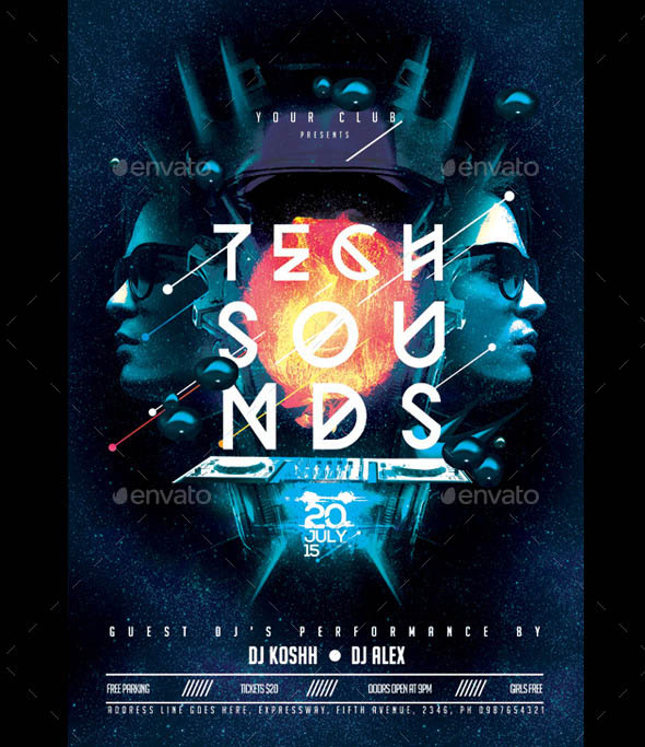 Tech Sound PSD Poster Flyer Template