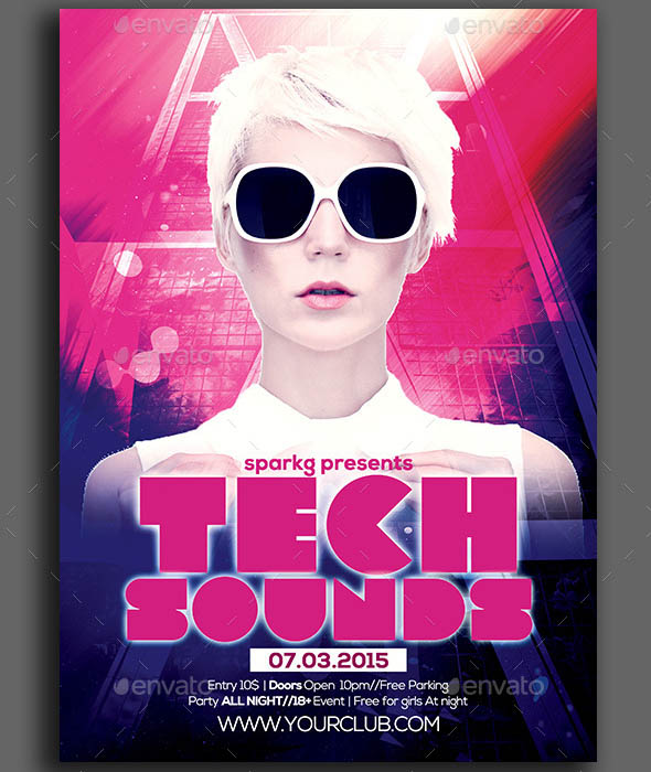 Tech Sounds Party Flyer