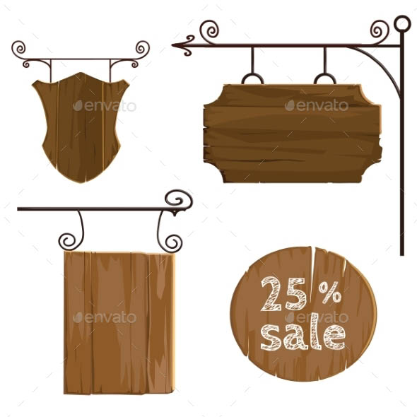 Wooden Signs Set 01