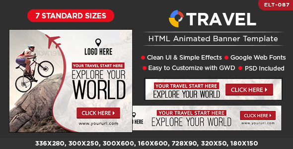 HTML5 Travel Banners GWD 7 Sizes