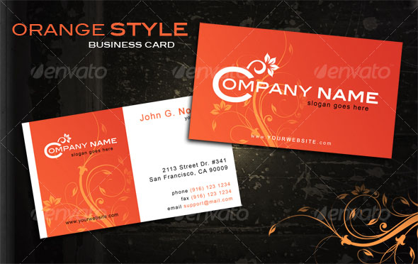 Orange style business card