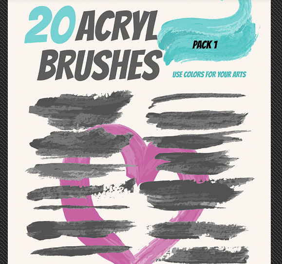 Set of Artistic Acrilyc Vector Brushes for Design
