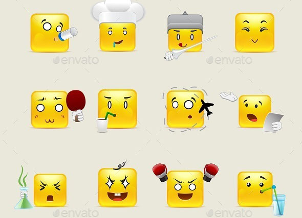 Square Smileys with Emotions