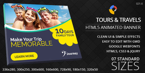 Tours Travels HTML5 ad banners