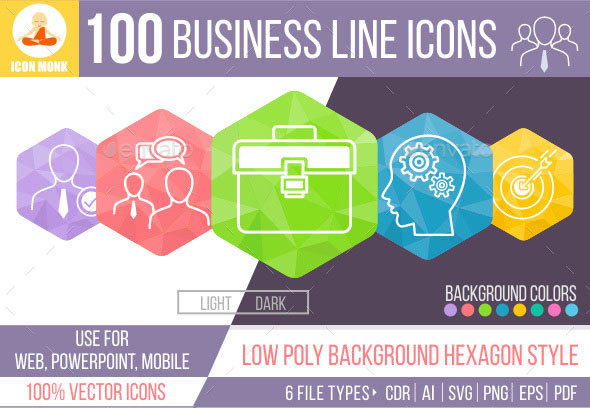 100 Business Hexagone line Icons