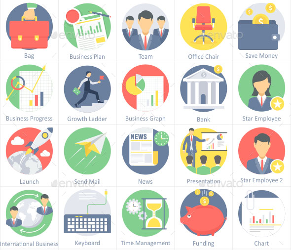 30 Office Business Flat Icons 1