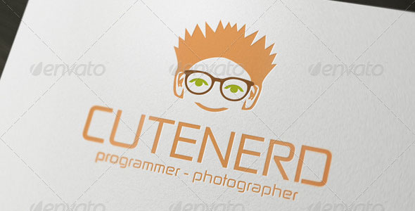 Cute Nerd Geek Logo Template