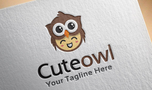 Cute Owl Logo Template kid