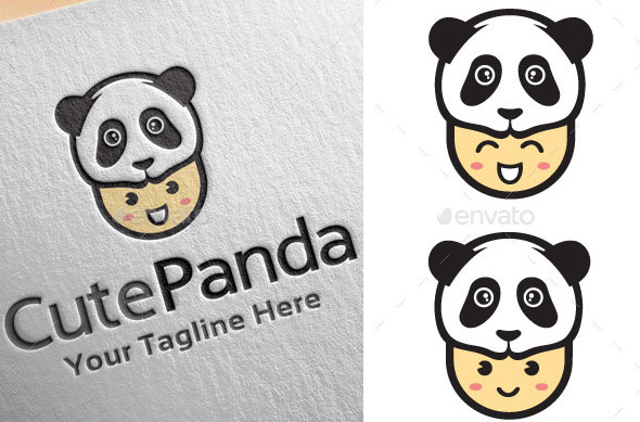 Cute Panda Logo Template