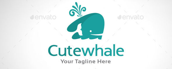 Cute Whale Logo Template