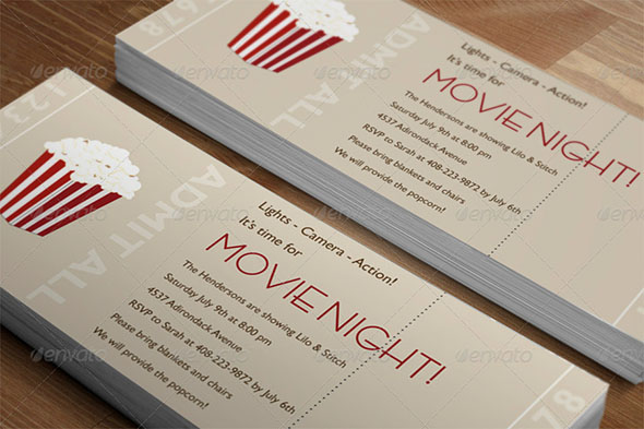 Realistic Ticket Card Mockup