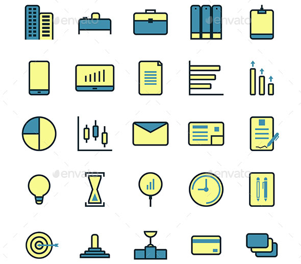 Thin Line Business Icon Set, Vector Illustration