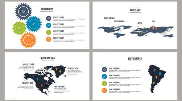 Nice Map Elements For Powerpoint Presentation  Desiznworld