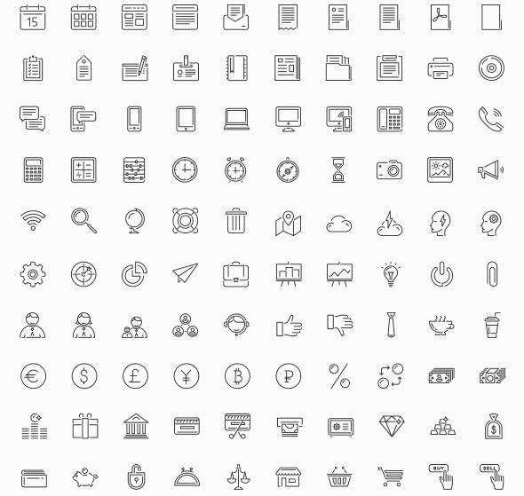100 Universal Line Custom Shape Icons