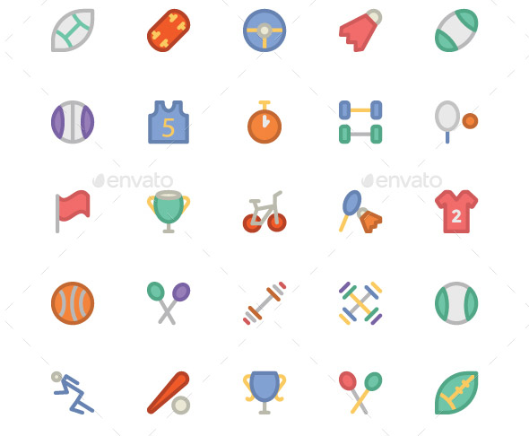 225 Sports Colored Icons