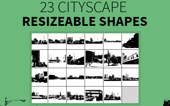 23 Cityscape Resizeable Shapes