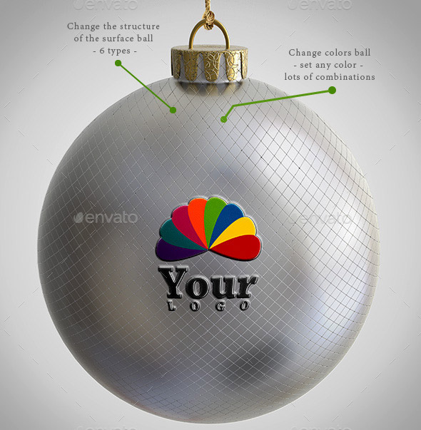 Christmas Ball Photorealistic Logo Mockup