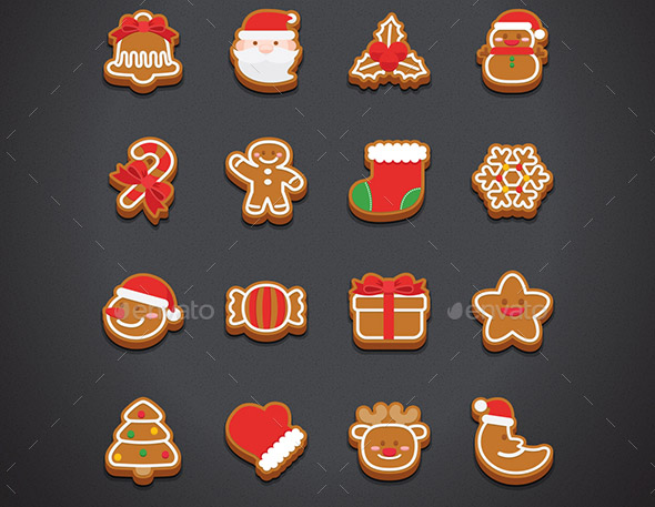 Flat Chistmas Cookie Icons