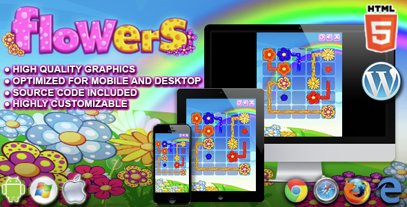 Flowers HTML5 Puzzle Game