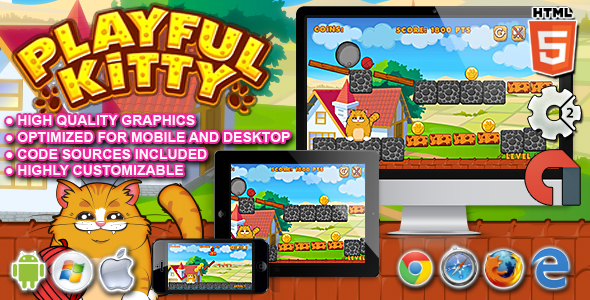 Playful Kitty HTML5 Construct Game