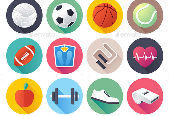 Sport and Fitness Flat Icons