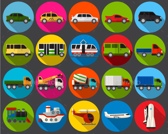 Transport Flat Icons Set
