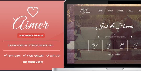 Aimer Wedding WordPress Theme For Lovers