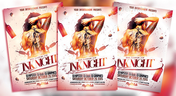 Ink Tattoo Night PSD Flyer Template